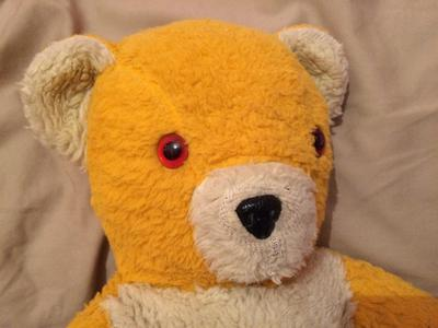 yellow and white teddy bear
