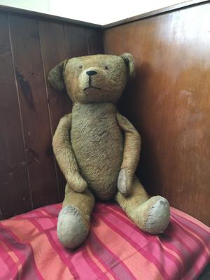 big teddy bear sitting in corner