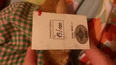 Golfer teddy bear label