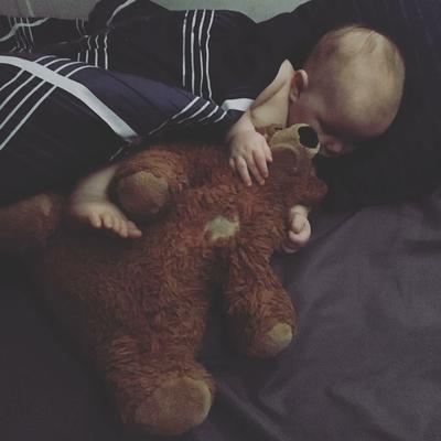 baby with teddy bear