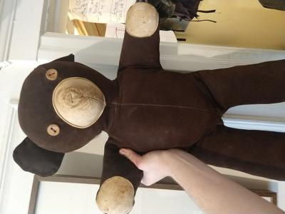 Leather button eyes teddy bear