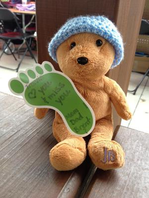Light Brown Teddy Bear with JB on left foot