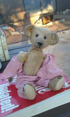 Old Bear in pink pajamas