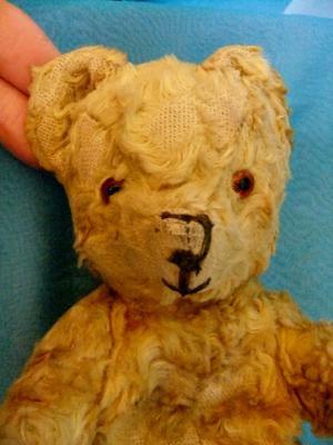 face of old teddy bear