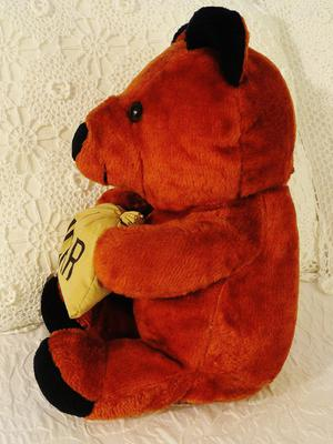side view of red teddy bear