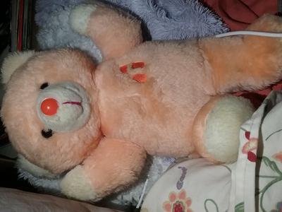 Orange musical wind teddy bear