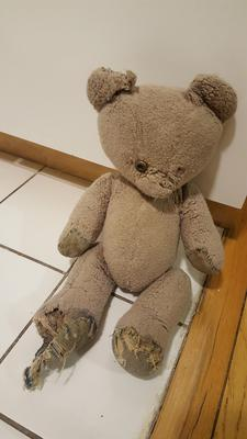 Tatty teddy bear needs repair