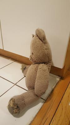 side view of tatty teddy bear