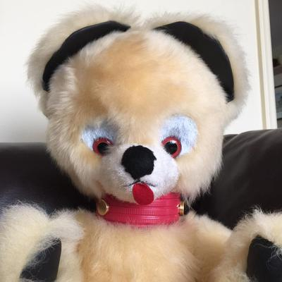 cream bear with red tongue