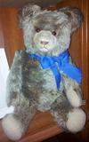 Teddy bear with blue bow