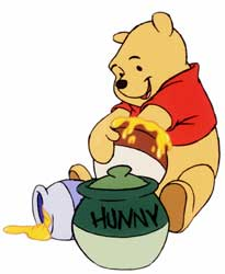 Winnie the Pooh and his honey pot