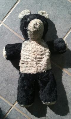 black and white teddy bear