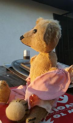 Old Bear in pink pajamas side view