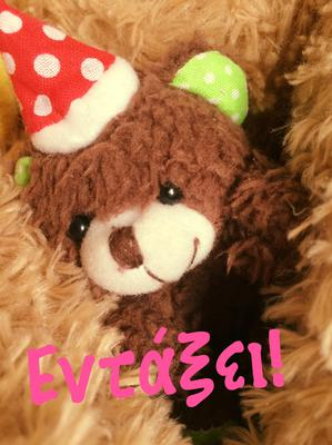 smal teddy bear with red hat