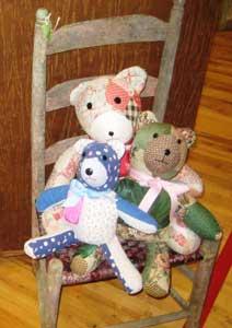 Teddy bears on a chair